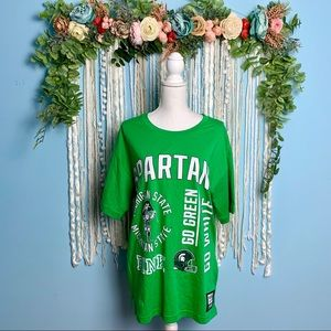 NWT PINK Michigan State Spartans Oversized Tee XS